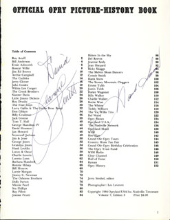 HANK SINGING RANGER SNOW - INSCRIBED BOOK PAGE SIGNED CIRCA 1984 CO-SIGNED BY: JEANNE PRUETT