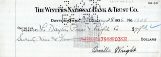 Autographs: ORVILLE WRIGHT - CHECK SIGNED 02/28/1936