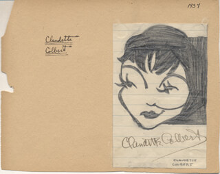 CLAUDETTE COLBERT - CARICATURE SIGNED