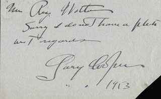 GARY COOPER - AUTOGRAPH NOTE SIGNED 1953