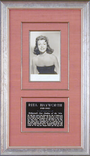 RITA THE LOVE GODDESS HAYWORTH - AUTOGRAPHED SIGNED PHOTOGRAPH