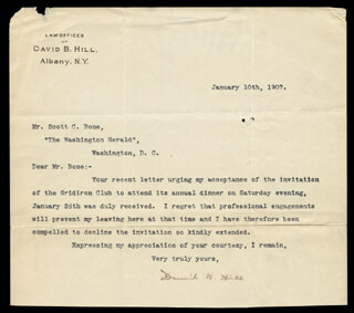 DAVID B. HILL - TYPED LETTER SIGNED 01/10/1907