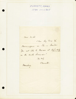 EDWARD EVERETT - AUTOGRAPH LETTER SIGNED