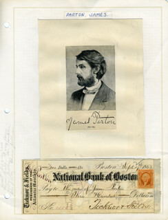 JAMES PARTON - CHECK ENDORSED 09/17/1868