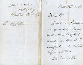 WENDELL PHILLIPS - AUTOGRAPH LETTER SIGNED 1869