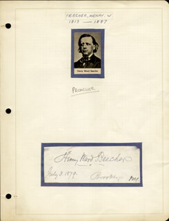 Autographs: HENRY WARD BEECHER - SIGNATURE(S) 07/03/1879