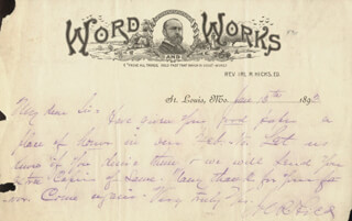 IRL R. HICKS - AUTOGRAPH LETTER SIGNED 01/13/1893