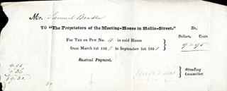 THOMAS B. WALES - RECEIPT SIGNED 03/01/1828 CO-SIGNED BY: SAMUEL BRADLEE