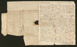 PETER WALDRON YATES - LETTER UNSIGNED 09/25/1790 WITH ABRAHAM LOTT