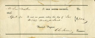 CHARLES STODDARD - RECEIPT SIGNED 4/30/1846