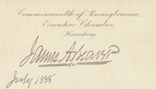 GOVERNOR JAMES A. BEAVER - PRINTED CARD SIGNED IN INK 7/1888