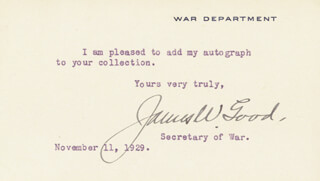 Autographs: JAMES W. GOOD - TYPED NOTE SIGNED 11/11/1929