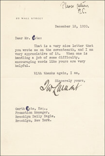 THOMAS W. LAMONT - TYPED LETTER SIGNED 12/18/1930