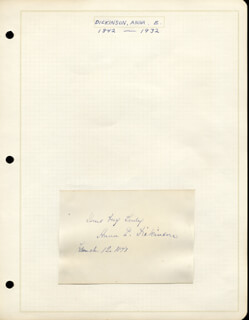 Autographs: ANNA ELIZABETH DICKINSON - AUTOGRAPH SENTIMENT SIGNED 03/12/1871