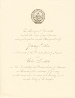 Autographs: PRESIDENT JAMES E. JIMMY CARTER - INAUGURAL INVITATION UNSIGNED 01/20/1977