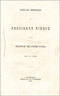 PRESIDENT FRANKLIN PIERCE - PAMPHLET UNSIGNED
