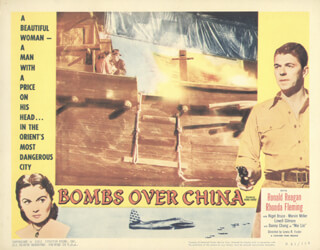 Autographs: BOMBS OVER CHINA MOVIE CAST - LOBBY CARD UNSIGNED (USA) WITH RHONDA FLEMING, PRESIDENT RONALD REAGAN