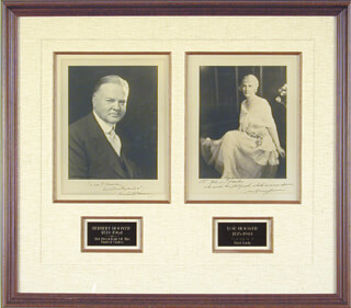 Autographs: PRESIDENT HERBERT CLARK HOOVER - COLLECTION CO-SIGNED BY: LOU HENRY HOOVER