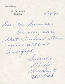 S. JUDGE - AUTOGRAPH LETTER SIGNED 10/31/1981