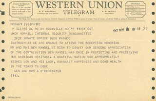GENERAL ALBERT COADY WEDEMEYER - TELEGRAM UNSIGNED