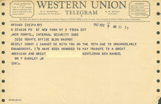 WILLIAM F. BUCKLEY JR. - TELEGRAM UNSIGNED