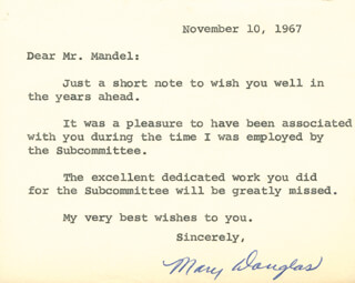 MARY DOUGLAS - TYPED NOTE SIGNED 11/10/1967