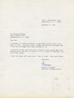FRANCES G. KNIGHT - TYPED LETTER SIGNED 11/15/1967