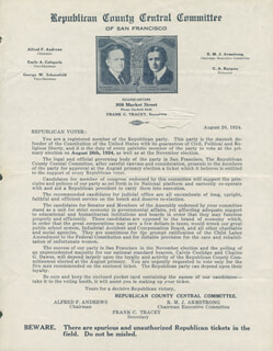 PRESIDENT CALVIN COOLIDGE - TYPED LETTER UNSIGNED 08/20/1924