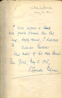 THOMAS MANN - INSCRIBED BOOK SIGNED 05/05/1942 CO-SIGNED BY: CHARLES MEIDER