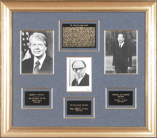 Autographs: PRESIDENT JAMES EARL JIMMY CARTER - COLLECTION CO-SIGNED BY: ANWAR SADAT , PRIME MINISTER MENACHEM BEGIN