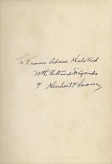 PRESIDENT HERBERT HOOVER - INSCRIBED BOOK SIGNED