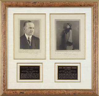 Autographs: PRESIDENT CALVIN COOLIDGE - COLLECTION CO-SIGNED BY: GRACE COOLIDGE