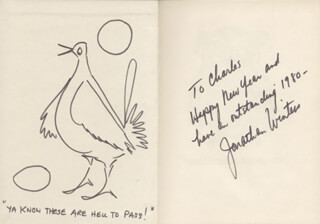 JONATHAN WINTERS - INSCRIBED ORIGINAL ART SIGNED 1980