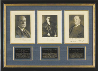 Autographs: PRESIDENT WILLIAM H. TAFT - COLLECTION WITH CHIEF JUSTICE CHARLES E HUGHES, CHIEF JUSTICE HARLAN F. STONE