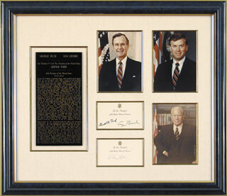 Autographs: PRESIDENT GEORGE H.W. BUSH - COLLECTION WITH VICE PRESIDENT DAN (JAMES DANFORTH) QUAYLE, PRESIDENT GERALD R. FORD