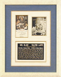 Autographs: MEL BLANC - COLLECTION WITH WALTER LANTZ