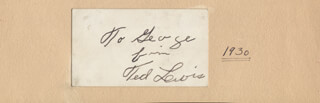 TED LEWIS - AUTOGRAPH NOTE SIGNED CIRCA 1930