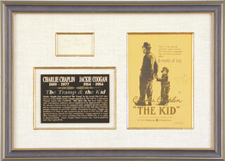 Autographs: CHARLIE THE LITTLE TRAMP CHAPLIN - COLLECTION CO-SIGNED BY:JACKIE COOGAN
