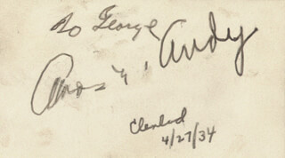 Autographs: FREEMAN AMOS GOSDEN - INSCRIBED SIGNATURE IN CHARACTER 04/27/1934