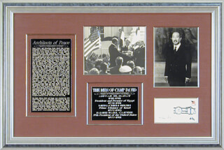 Autographs: PRESIDENT JAMES E. JIMMY CARTER - COLLECTION WITH PRESIDENT ANWAR SADAT (EGYPT), PRIME MINISTER MENACHEM BEGIN (ISRAEL)