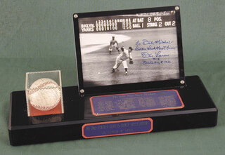 Autographs: THE NEW YORK YANKEES - COLLECTION WITH YOGI BERRA, BILL MOOSE SKOWRON, ANDY CAREY, JERRY COLEMAN, TOMMY BYRNE, EDDIE (WILLIAM EDWARD) ROBINSON, BOBBY RICHARDSON, BOB CERV, CHARLIE SWEDE SILVERA, WHITEY FORD AND OTHERS