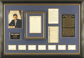 Autographs: PRESIDENT JOHN F. KENNEDY - COLLECTION WITH ASSOCIATE JUSTICE BYRON R. WHITE, ASSOCIATE JUSTICE JOHN M. HARLAN JR., ASSOCIATE JUSTICE ABE FORTAS, CHIEF JUSTICE EARL WARREN, ASSOCIATE JUSTICE HUGO L. BLACK, ASSOCIATE JUSTICE TOM C. CLARK, ASSOCIATE JUSTICE WILLIAM O. DOUGLAS, ASSOCIATE JUSTICE POTTER STEWART, ASSOCIATE JUSTICE WILLIAM J. BRENNAN JR.
