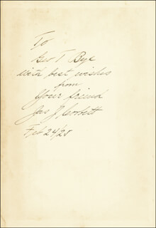 JAMES J. GENTLEMAN JIM CORBETT - INSCRIBED BOOK SIGNED 02/24/1925