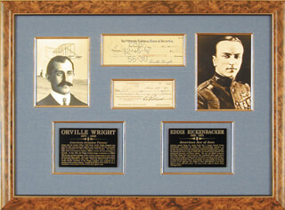 ORVILLE WRIGHT - COLLECTION CO-SIGNED BY:CAPTAIN EDWARD V. EDDIE RICKENBACKER