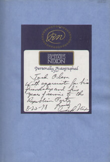 PRESIDENT RICHARD M. NIXON - INSCRIBED BOOK SIGNED 08/22/1978