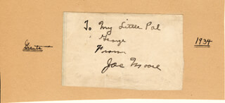 JOE MOORE - AUTOGRAPH NOTE SIGNED CIRCA 1934
