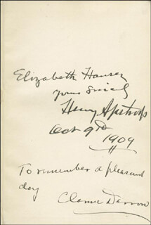 CLARENCE DARROW - BOOK SIGNED 10/09/1909
