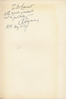 PRESIDENT CHAIM WEIZMANN (ISRAEL) - INSCRIBED BOOK SIGNED 05/03/1949
