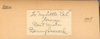 BENNY THE GHETTO WIZARD LEONARD - AUTOGRAPH NOTE SIGNED 1937