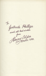 Autographs: HENRY ALPER - INSCRIBED BOOK SIGNED